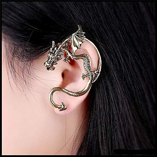 Emeco 1 X Drachen Ohrstecker Ohrringe Drache Gothic Punk Ohrklemme Ohrschmuck Ohrring SJ50 (ALTGOLD(GOLD))