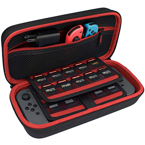 TAKECASE Carrying Case For Nintendo Switch - Protective Hard Case - Includes Accessories Pouch That Fits Extra Joy Cons, 19 Game Cards, Adapter/Charger and Cables - Red/Black