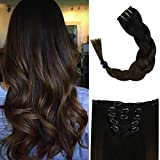 Full Shine Clip Hair Extensions Human Hair 12 Inch Color 1B Fading To 4 Brown Short Human Hair Balayage Extensions Dip Dyed Clip In 5 Pcs 80 Gram Remy Hair Clip in Extensions For Women