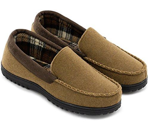HomeTop Men's Indoor Outdoor Wool Micro Suede Moccasin Slippers House Shoes (44 (US Men's 11), Camel)