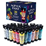 TBC The Best Crafts Acrylic Paint Set, 24 Tubes of 4 Oz / 120mL, Large Acrylic Paints for Painting Canvas,Wood, Fabric, Premium Painting Supplies for Artist and Beginners