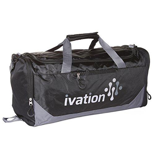 Ivation, borsone da palestra al100% poliestere impermeabile,ideale per palestra, fitness, campeggio, escursioni, viaggi e altro ancora., Black
