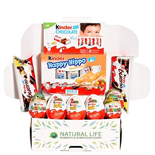 Caja de regalo de los nuevos chocolates Kinder I Selección de dulces para regalar: Kinder Chocolate, Kinder Bueno, Kinder Joy, Happy Hippo y Kinder Sorpresa I Cesta ideal para regalar o disfrutar