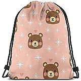 TIMOCHA Bolsas de cuerdas Unisex Tote School Rucksack,Bolsa de Gimnasio Ligera,Drawstring Backpack,Pink Bear Travel String Pull Bag,,Sport Cinch Pack