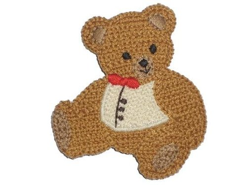 alles-meine.de GmbH Teddy 6,2 cm * 7 cm Bügelbild Aufnäher Applikation gehäkelt häkel Bear Bär