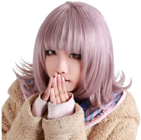 Anogol Purple Short Bob Synthetic Hair Women's Wig with Bangs Fringe for Costume