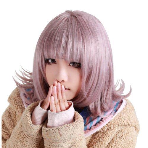 Anogol Purple Short Bob Synthetic Hair Women