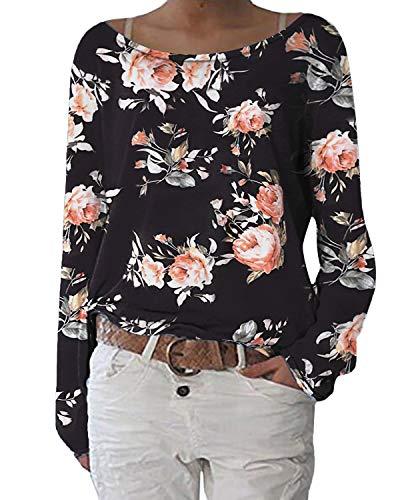 ZANZEA Damen Langarmshirts Lose Blumen Bluse U-Ausschnitt Oversize Sweatshirt Oberteil 01-blumen4 EU 44/Etikettgröße L