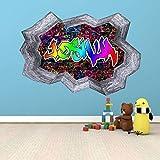 Personalisiert 3D Multi Farbe Graffiti Personalisierter Name Ziegel Wandkunst Sticker Abziehbild mit Grauer Bordüre für Teenager Mädchen und Jungen Gemalt Optik WSDPGN98 - Multi, Groß: 110cm X 70cm H