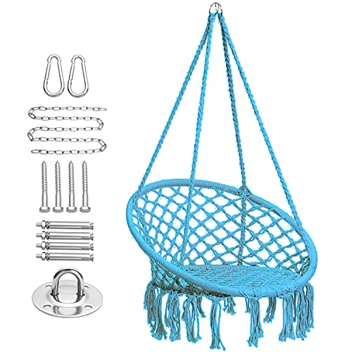 CCTRO Hammock Chair Macrame Swing with Haning Hardware Kits,Boho Style Hanging Swing Chairs for Indoor/Outdoor Home Patio Porch Yard Garden Deck,265 Pound Capacity (A Blue)