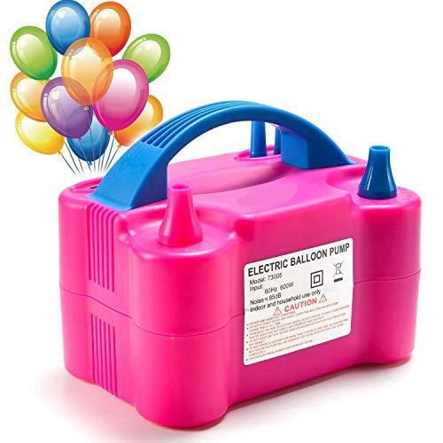 MTKD® Pompa Elettronica per Gonfiaggio Palloncini. Ideale per Feste e Cerimonie. Motore 600W Alta Potenza.- Fucsia