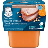 Gerber 2nd Foods Sweet Potato & Turkey Pureed Baby Food, 4 Ounce Tubs, 2 Count (Pack of 8)