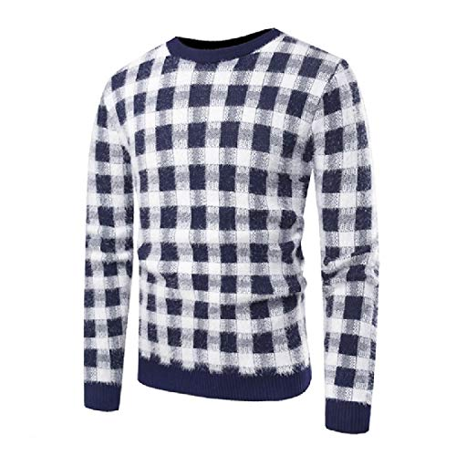 AngelSpace Mens Fit Plaid Neck Crew Color Contrast Fit Knitted Pullover Sweaters Dark Blue L