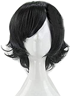 happylifehere Short Layered Anime Black Cosplay Party Wig + Free Wig Cap