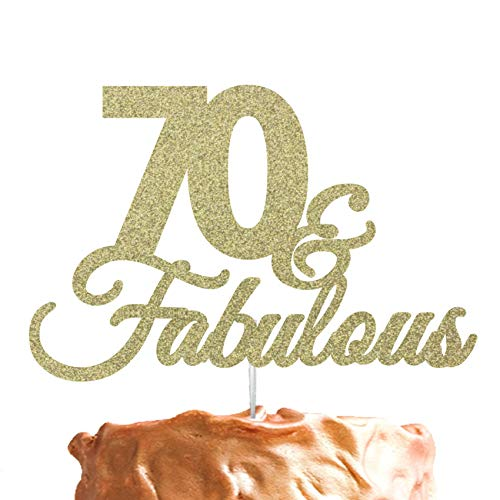 LissieLou 70 Fabulous 70th Birthday Cake Topper Swirly Glitter Gold