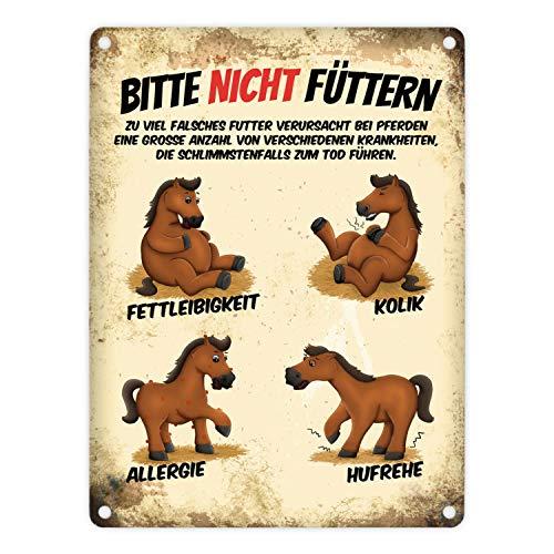 trendaffe - Metallschild mit Pferde Motiv und Spruch: Bitte Nicht füttern
