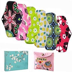 Women Hygiene Sanitary Pad, Feminine Reusable Panty Liner,Bamboo Cloth Mama Menstrual Sanitary Nappy Towel Pad (25.5 x 18cm)