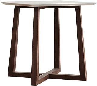 Table HUO, Basse Ronde Moderne Simple Plateau Wild Nouveau Chinois Petit Canapé Côté 46 * 50CM (Couleur : White+Walnut)