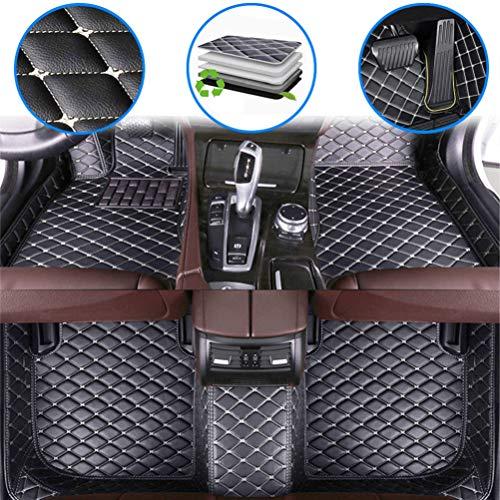 Fußmatten für C hevy Camaro 2000-2009, 2010-2015, 2016-2019 rutschfeste Abnutzung Bodenmatten-Leder Material Automatten Teppiche (Schwarz Beige)