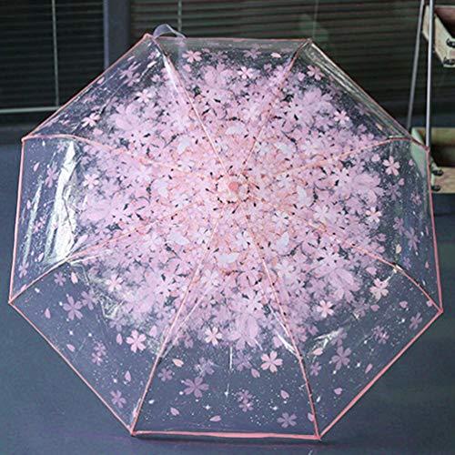 Paraguas Plegable de Cereza Transparente para Mujer, Tres Paraguas Plegables de 8 Costillas a Prueba de Viento, Rosa