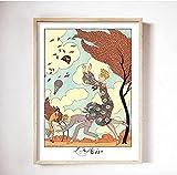 HHGGF George Barbier Ilustraciones Elementos Arte de la Pared Carteles Pinturas en Lienzo Imágenes Impresas Arte de la Pared para la decoración de la Sala de estar-50x70CM Sin Marco