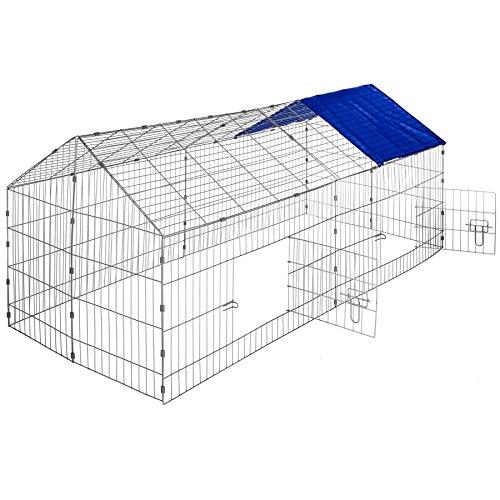 TecTake 800393 - Kaninchen Freilaufgehege mit Sonnenschutz, 180 x 75 x 75 cm, Schnelle Montage - Diverse Farben (Dach blau | Nr. 402419)