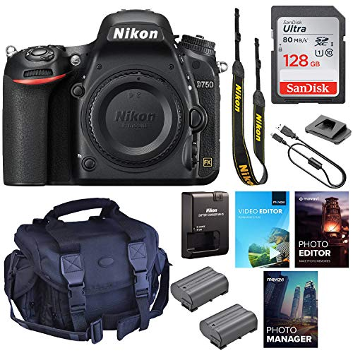 Nikon D750 DSLR Camera (Body Only) || 24.3MP FX-Format || 1080p Video || Wi-Fi with Padded Shoulder Case, Photo & Video Edition Software Package and 128GB High Speed Memory