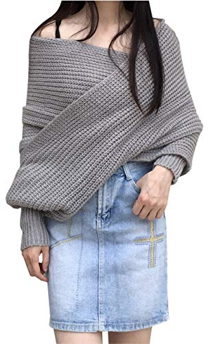 ARJOSA Women's Deep V Neck Cable Knit Shawl Scarf Wrap Sweater Top (Grey)