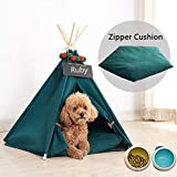 Van Unico Dog Bed Teepee/Tent for Dogs & Cats Portable Pet House 24 inch (24 inch, Green)