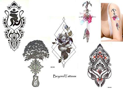Lot de 5 feuilles de tatouages tendance - Pour lignes de tatouages - Avec 1 boussole de rose, arbre, mandala - Faux tatouages graphiques