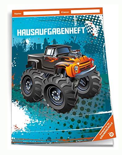 Trötsch Verlag  201942N - Hausaufgabenheft DIN A5 für die Grundschule, Monstertruck, 96 Seiten, mit extra starkem Klarsichtumschlag