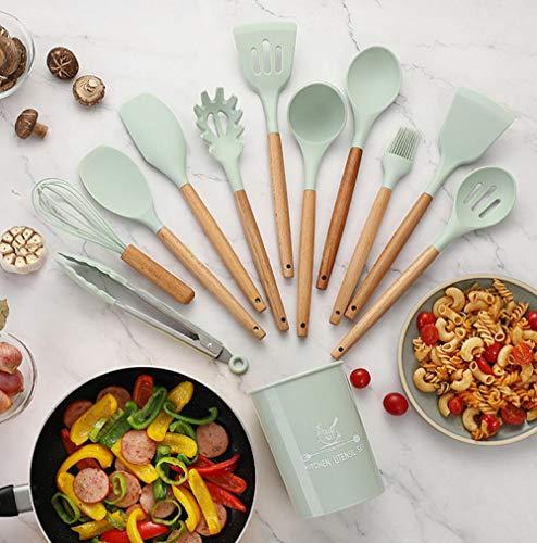 Utensilios Cocina Silicona,11 piezas de utensilios de cocina con mango de madera, utensilios de cocina de silicona, utensilios de cocina antiadherentes, accesorios de cocina con cubo de almacenamient