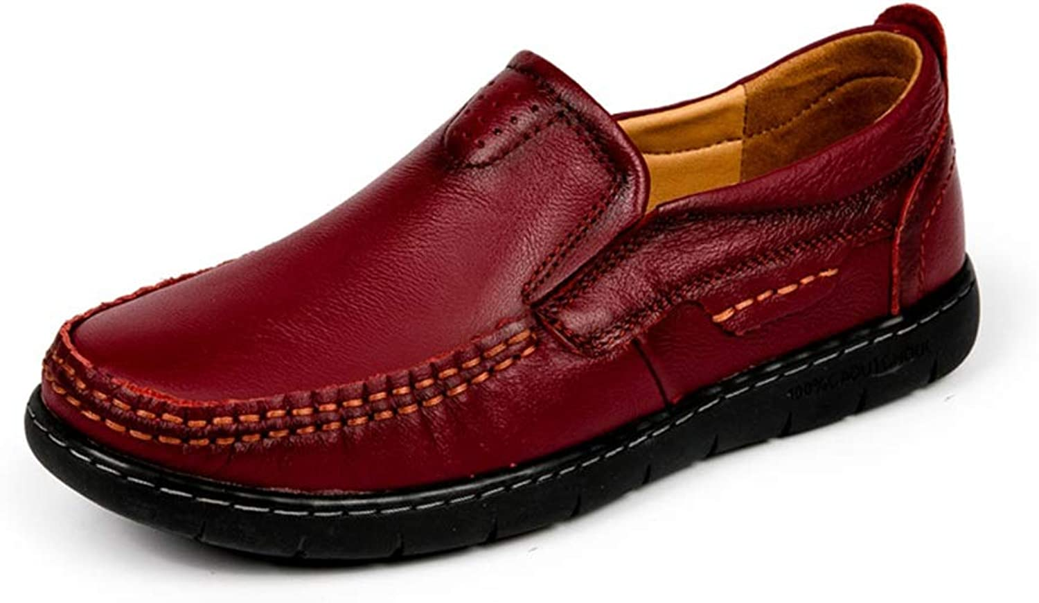 MUMUWU Women's Oxford shoes Genuine Penny Loafers Lightweight Anti-Slip Flat Leather shoes Vegan (color   Claret-red, Size   7.5 D(M) US)