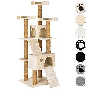 TecTake Arbre à Chat Griffoir corde de coco 169 cm | 2 Grottes | 3 Plateformes - diverses couleurs au choix - (beige | No. 402190)