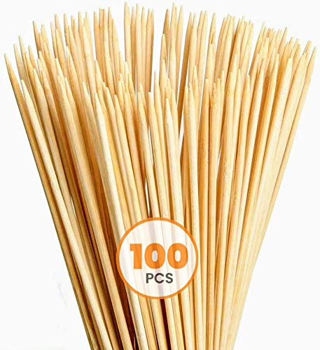 "Allcana Natural Bamboo Skewers for BBQ, Fruit Kabob, Appetizer, Grilling, Shish Kabob, Chocolate Fountain, Marshmallows, 3mm, Sizes 6""/8""/10""/12"" - 100pcs"