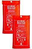 ATX 2 Pack Fire Blanket/Fireproof Blankets for Emergency/Fiberglass Safety Fire Retardant Blanket in Wall Hanging Bag/Home Fireplace Kitchen Stove and Grill Grease Fires Online Retailers FBA