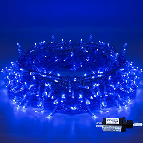 Christmas String Lights - 220 LED 25m/82ft 8 Modes Memory Function End-to-End Plug in Indoor/Outdoor Waterproof Decorative Fairy Twinkle Lights for Halloween/Tree/Thanksgiving Day/Patio/Room - Blue