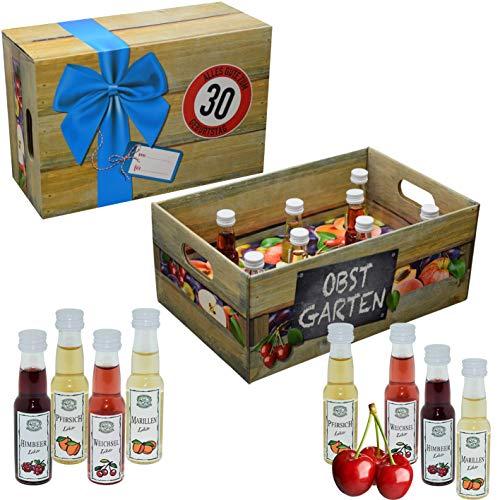 Obstgarten mit Geburtstagszahl 30. Geburtstag · Witzige Geschenkidee für Männer und Frauen mit Alkohol · 8 x Obst-Likör · Hochwertige Geschenkbox · Geburtstagsgeschenk für Männer