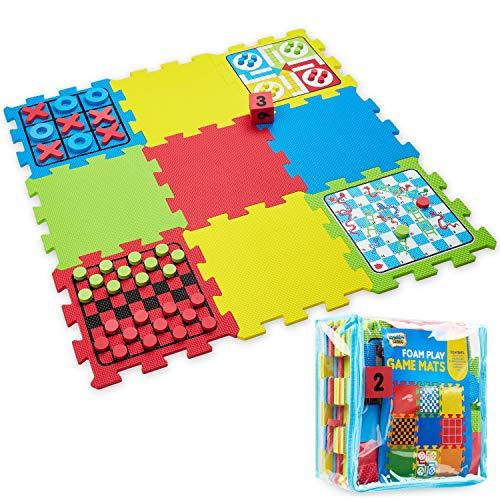 Kreativekraft Alfombra Puzzle, Alfombra de Goma Eva Incluye 4 Juegos, Parchis, Las Tres En Raya, Damas y Juego De La Serpiente, Juegos educativos para Niños
