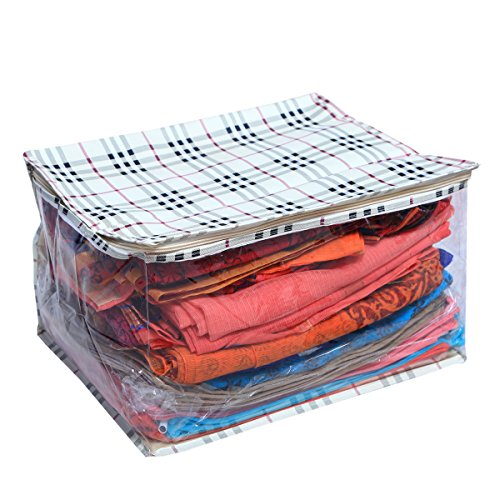 KuberIndustries Extra Large Sari Housse, Sac de Sari, Regular Sac en Tissu, penderie (Crème) Tissu imperméable à l'eau