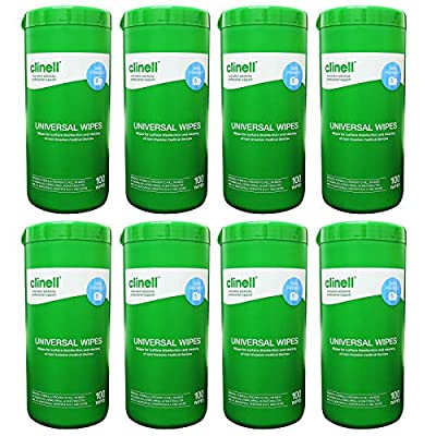 Clinell Universal Disinfecting Cleaning Medical Devices Equipment Surface Wipes Tub - 8 Tub Pack (100 Wipes per tub) from GAMA Healthcare
