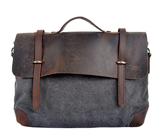 Berchirly Gray Canvas Laptop Messenger Crossbody Bags Business Bag Bookbag Handbag Tots