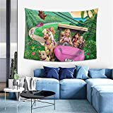 Wall Art B-Arbie & H-Er Sisters In A P-Uppy C-Hase (1) Wall Tapestry -Tapestry Wall Hanging Tapestry For Bedroom Living Room Dorm Home Décor 60x40 Inches