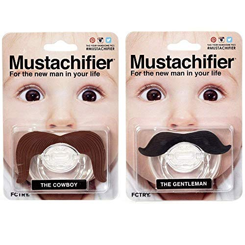 Hipsterkid Mustachifier - Infant & Toddler Orthodontic Mustache Pacifier - BPA Free - Funny Gift for Newborn & Baby Shower (Ladies Man)