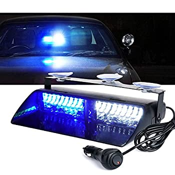 Xprite White Blue 16 LED High Intensity Emergency Hazard Warning Strobe Lights w/Suction Cups for Police Law Enforcement Vehicles Truck Interior Roof Windshield Dash Deck Flash Light
