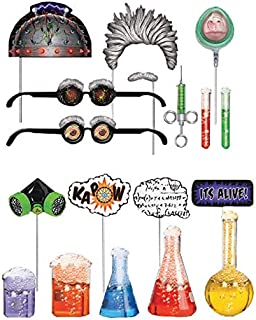 Super Scientist Photo Booth Props Set for Science Lab Teaching and Science Party Supplies - Fully Assembled - 18 Pcs.