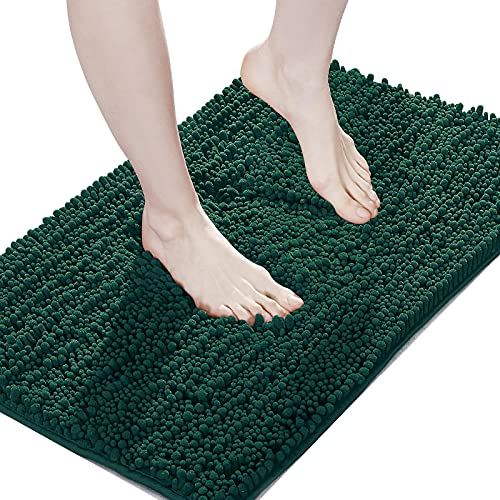 Suchtale Bathroom Rug Non Slip Bath Mat (20x32 Inch Hunter Green) Water Absorbent Super Soft Shaggy Chenille Machine Washable Dry Extra Thick Perfect Absorbant Best Large Plush Carpet For Shower Floor