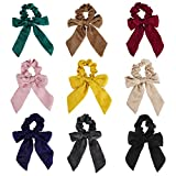 Bowknot Haargummis, 9 Stück Mehrfarbige Elastische Haarbänder Chiffon Pferdeschwanz Halter Haargummi Haarstyling Haarschmuck für Damen Mädchen