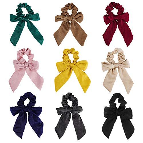 Elastici per Capelli Scrunchies 9 Pz Fiocco Fasce per Capelli Accessori Multicolori Hair Cravatte Morbidi Porta Coda di Cavallo Per Donne Ragazze