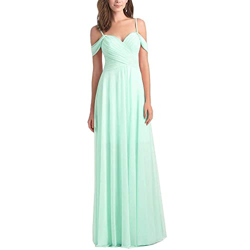 fe4666abfe29 WuliDress Women s Off The Shoulder A Line Chiffon Bridesmaid Dress Long  Ruched Prom Party Formal Evening